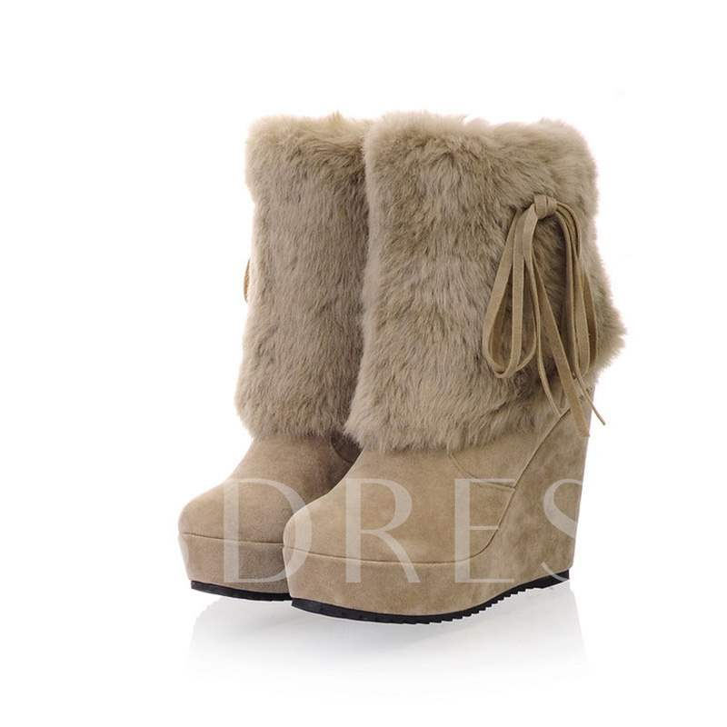 0ba86b7f8eac Round Toe Plain Wedge Heel Slip-On Casual Women s Snow Boots. Sold Out