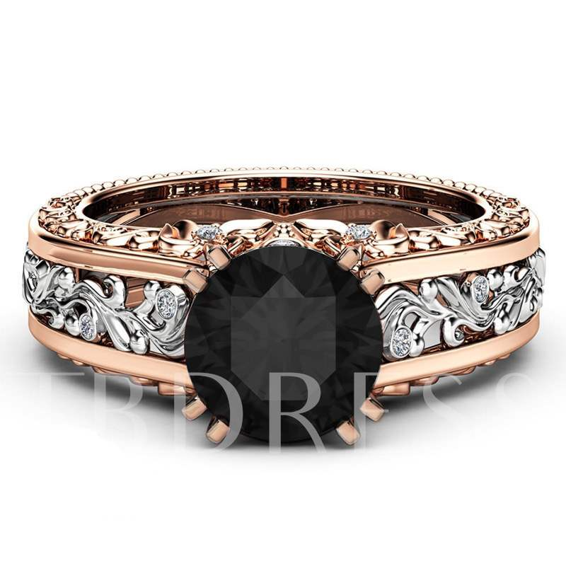 Rose Gold Two Tone 14K E-plating Alloy Ring