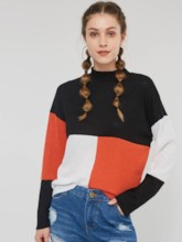 Stand Collar Color Block Women's Sweater