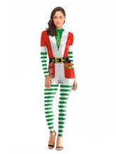 Print Christmas Long Sleeve Color Block Sexy Costumes