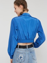 Plain Lapel Slim Women's Cropped Jacket