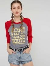 Color Block Letter Print Raglan Sleeve Women's T-Shirt