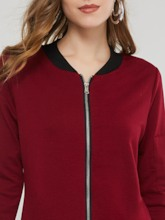 Plain Zipper Up Mid-Length Women's Sweatshirt