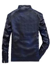 Slim Stand Collar Plain Zipper Men's Leather Jacket