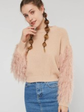 Tassel Scoop Neck Pullover Women's Sweater