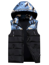 Camouflage Thick Stand Collar Patchwork Zipper Men's Gilet
