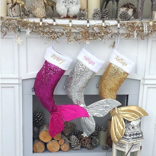 Mermaid Design Christmas Stockings Socks