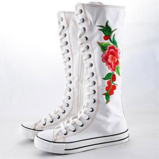 Floral Round Toe Side Zipper Athletic Women's Knee High Boots