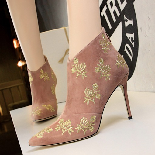 Back Zip Floral Stiletto Heel Pointed Toe Embroidered Ankle Boots