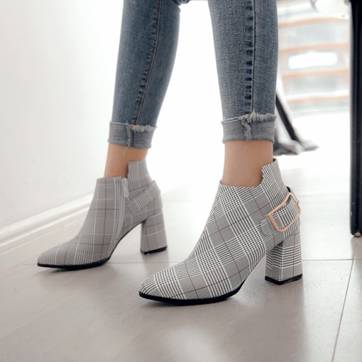 Plaid Side Zipper Chunky Heel Round Toe Stylish Women's Ankle Boots