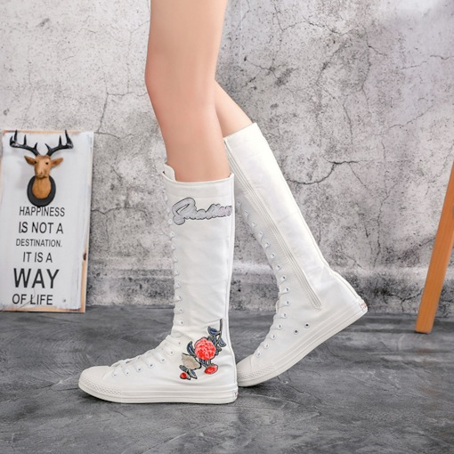 Round Toe Side Zipper Floral Casual Chic Athletic Knee High Boots