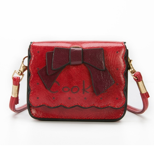 Bowknot Print PU Letter Flap Magnetic Snap Medium Crossbody Bags