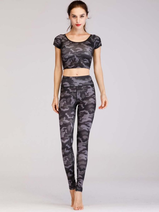 Two Pieces Workout Suit Leopard Camouflage Print Sports Set for Women
