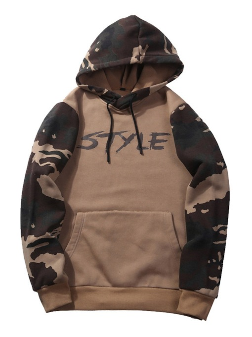 Patchwork Pullover Camouflage Pullover Single Men's Hoodie