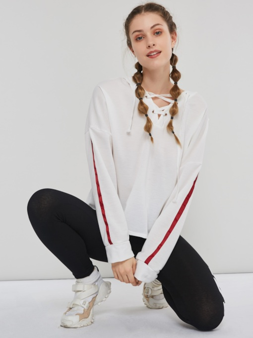 Loose Stripe Lace-Up Pullover Women's Hoodie