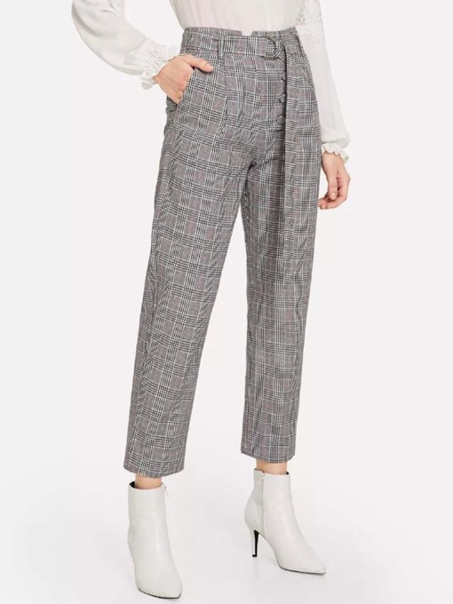 Slim Number Plaid Print High-Waist Women's Casual Pants