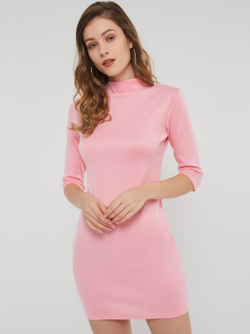 3/4 Length Sleeves Stand Collar Women's Bodycon Dress