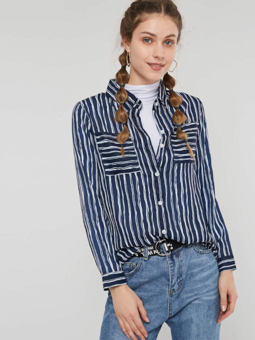 Stripe Single-Breasted Pocket Mid-Length Women's Shirt