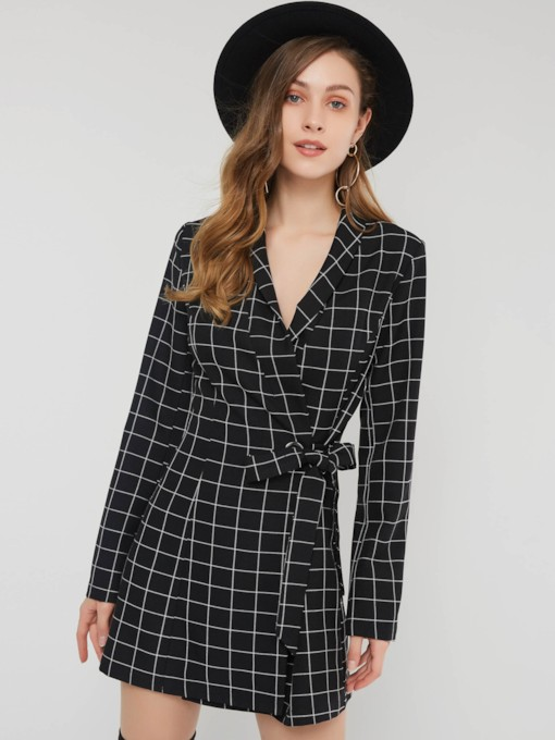 Lace-Up Split Lapel Plaid Women's Long Sleeve Dress