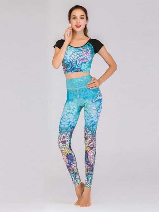 Two Pieces Workout Suit Short Sleeves Print Women's Sports Set