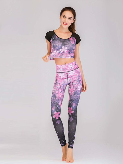 Two Pieces Workout Suit Breathable Print Sports Set for Women