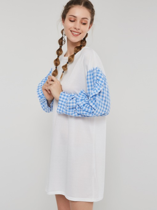 Round Neck Print Plaid Women's Long Sleeve Dress