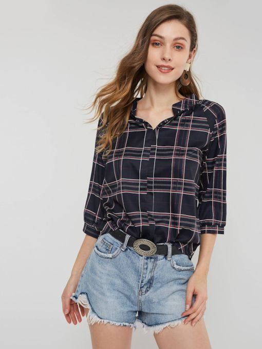 Color Block Plaid Three-Quarter Sleeve Women's Blouse