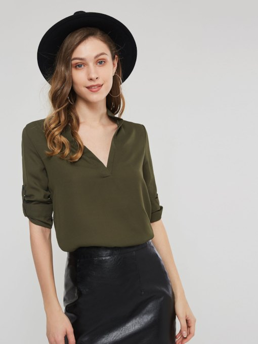Plain V-Neck Mid-Length Women's Blouse