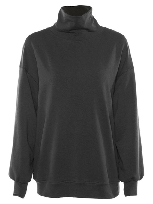 High Neck Plain Mid-Length Women's Sweatshirt