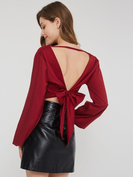 V-Neck Lace-Up Backless Women's Cropped Blouse