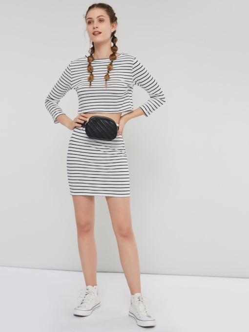 Casual Print Stripe T-Shirt & Skirt Women's Two Piece Sets