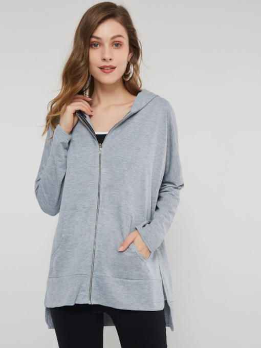 Plain Zipper Up Asymmetric Women's Hoodie