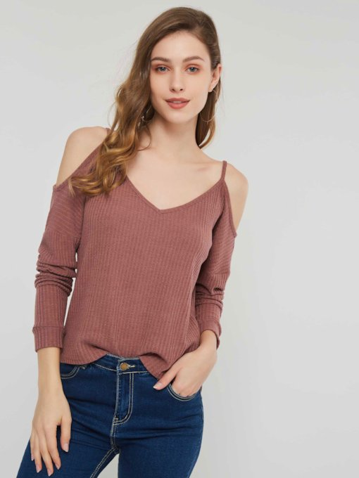 Cold Shoulder Backless Women's Sweater