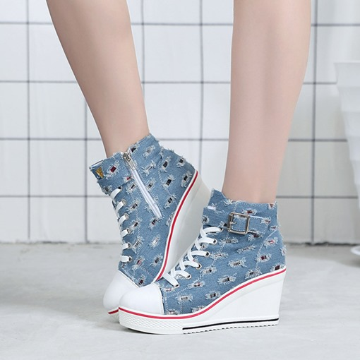 Side Zipper Wedge Heel Round Toe Cross Strap Women's Ankle Boots