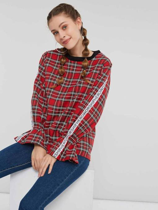 Plaid Flare Sleeve Letter Women's Blouse