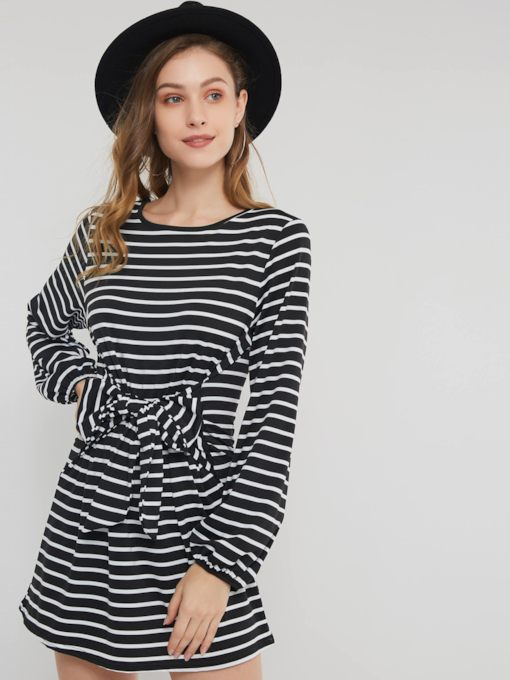 Stripe Lace Up Women's Long Sleeve Dress