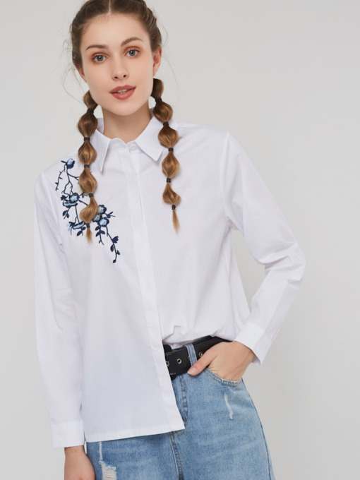 Floral Embroideried Lapel Hidden Button Women's Shirt