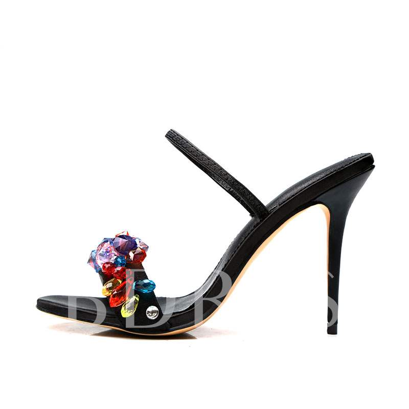 Colorful Rhinestone High Heel Sandals Slippers for Women Prom Shoes