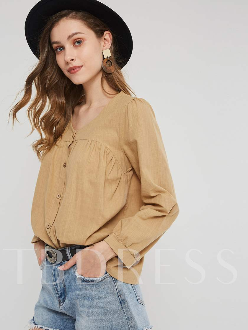 Plain V-Neck Pleated Single-Breasted Women's Shirt