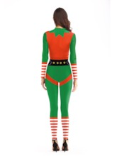 Christmas Long Sleeve Print Color Block Sexy Costumes