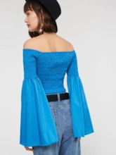 Off Shoulder Pleated Flare Sleeve Women's Cropped T-Shirt