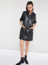 PU Short Sleeve Lapel Women's Day Dress