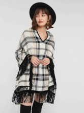 Cashmere Color Block Plaid Tassel Women's Cape