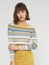 Slim Scoop Neck Stripe Women's Sweater