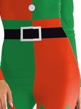 Print Long Sleeve Color Block Christmas Sexy Costumes