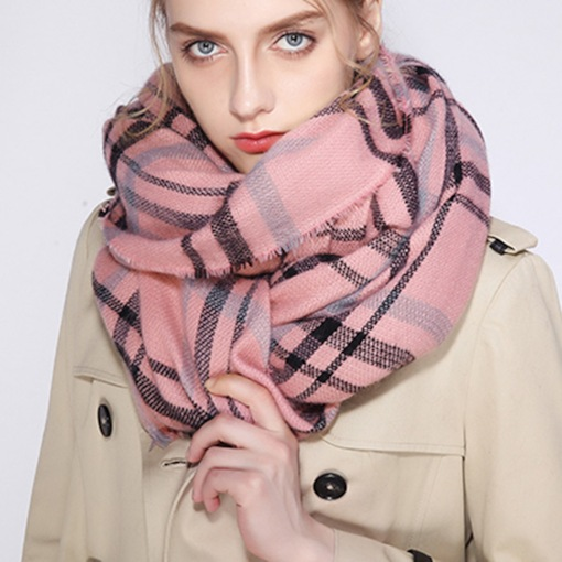Plaid Double-Purpose Loose Capes Thicken Winter Scarf