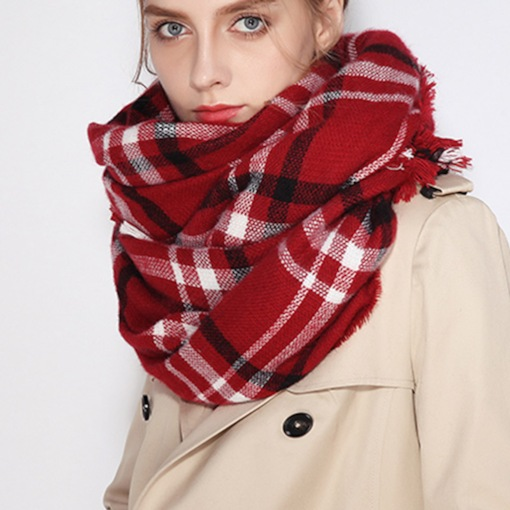 Plaid Loose Capes Christmas Series Warmth Scarf