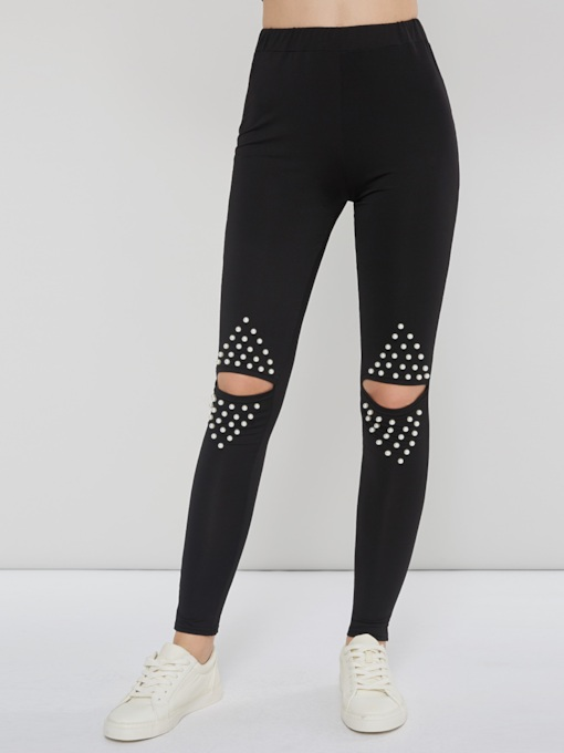 Casual Polyester Hole Skinny Women's Leggings