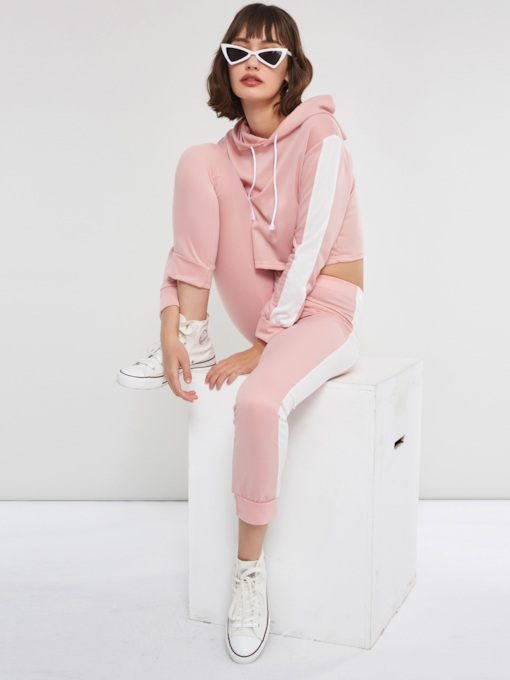 Casual Color Block Pullover Hoodie and Pants Women's Two Piece Sets