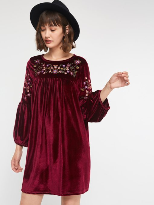 Embroidery Round Neck Velvet Women's Long Sleeve Dress
